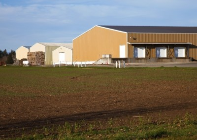 Large farm warehouses, rural Oregon.