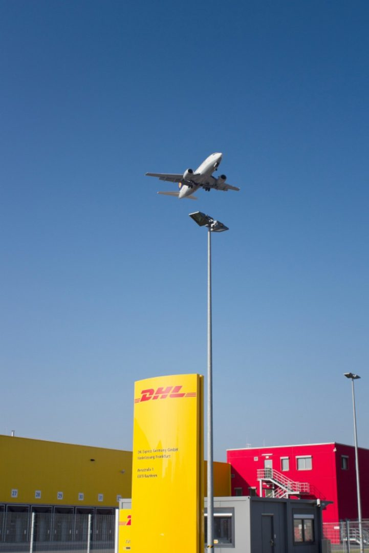 DHL distribution and logistics center, landing airplane